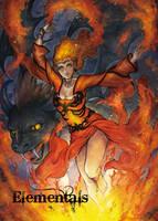 Elementals Fire Base Card Art by Juri Chinchilla by Pernastudios