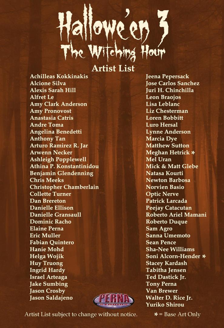 Hallowe'en 3: The Witching Hour Artist List by Pernastudios