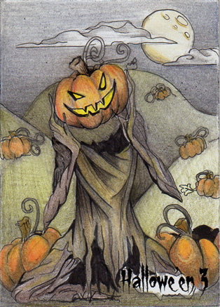 Hallowe'en 3 Sketch Card - Alexis Hill 1 by Pernastudios