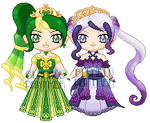 ChibiP: Elegant Mode Shamrock and Mariposa by SugarRoseDoll