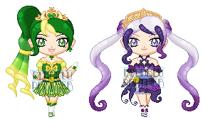 ChibiP: Cure Shamrock and Cure Mariposa by blknblupanther