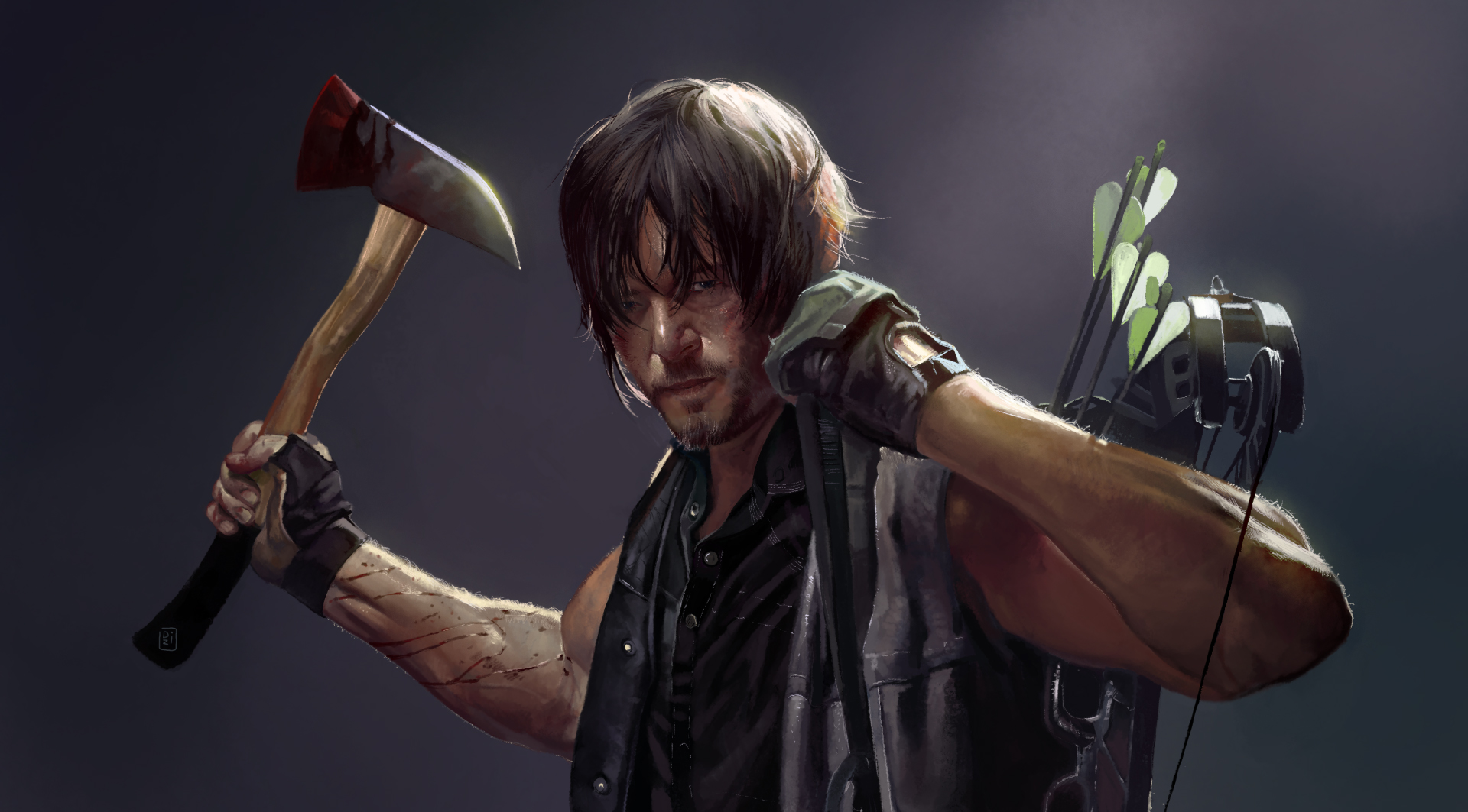 daryl dixon from the walking dead by dzikawa on deviantart. Black Bedroom Furniture Sets. Home Design Ideas