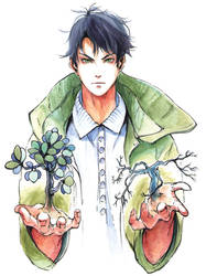 Watercolor manga cover (Nameless Hero) by Dzikawa