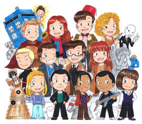 Doctor Who Chibis galore by akabeko