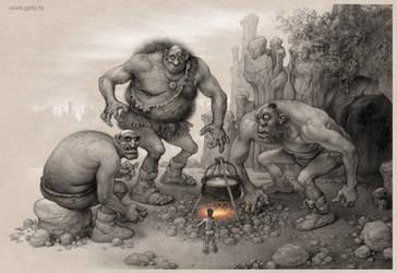 Giants from Serbian fairy tale Bash Tcelik by Boban-Savic-Geto