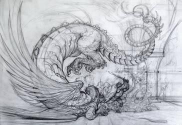 Death of the dragon, sketch by Boban-Savic-Geto