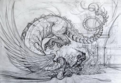 Death of the dragon, sketch