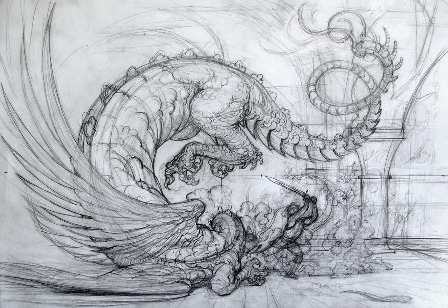 Death of the dragon, sketch by Boban-Savic-Geto