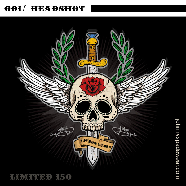 001/ HEADSHOT TSHIRT by johnnyspadewear