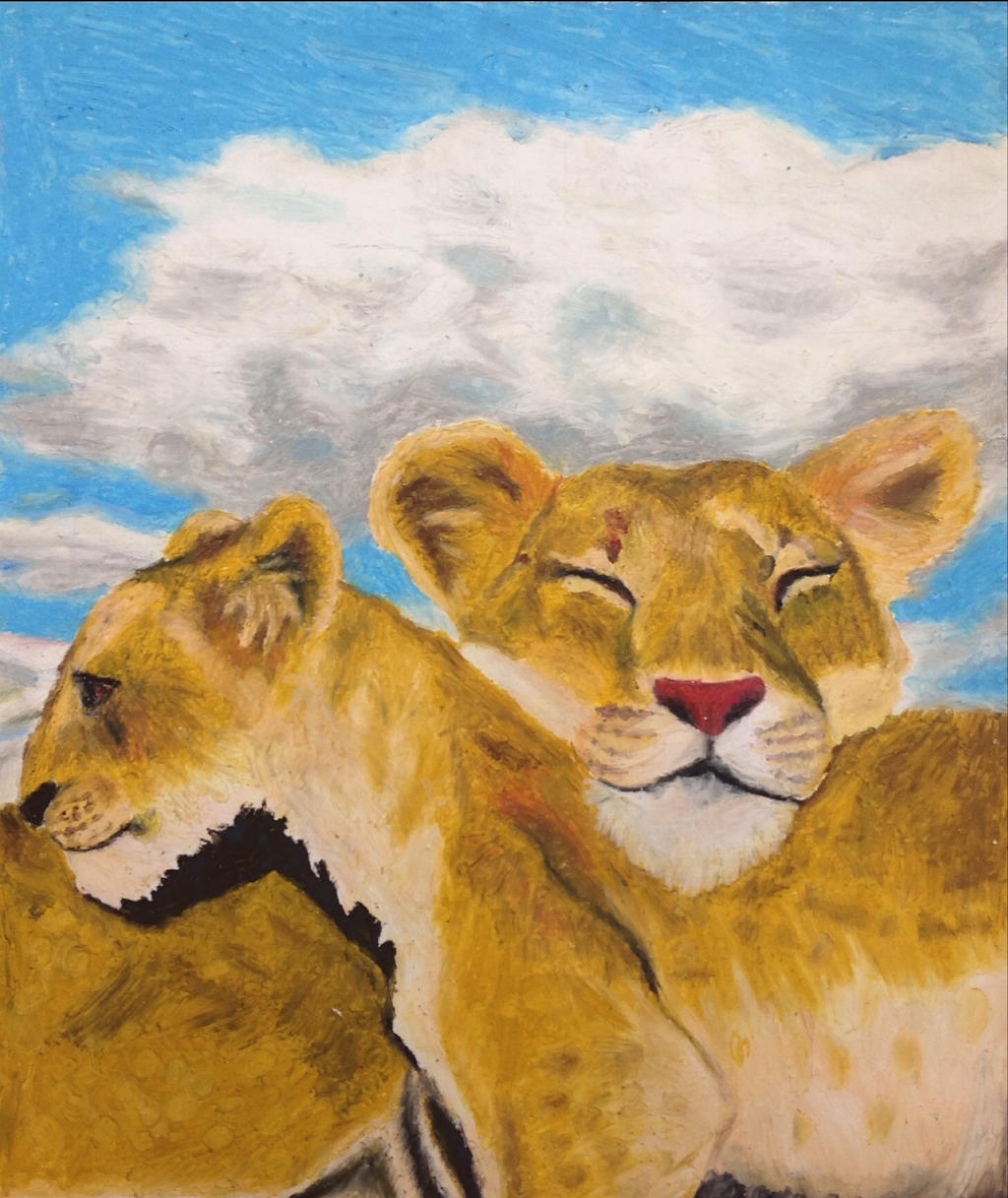 A lioness and her cub by Artdirector123