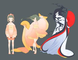 Hazumi and Maho concept arts by shirotsuki