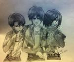 Levi, Eren and Mikasa - Shingeki no Kyojin