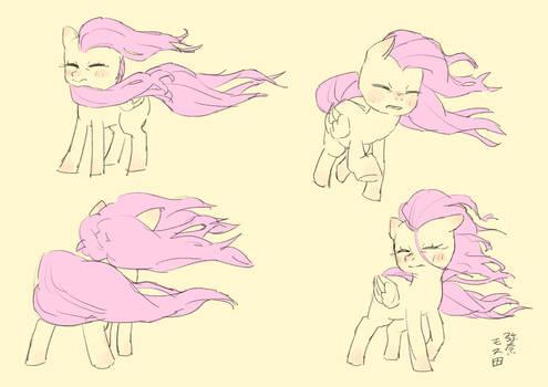 Fluttershy in strong wind