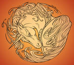 Unicorn - Lineart (orange BG)