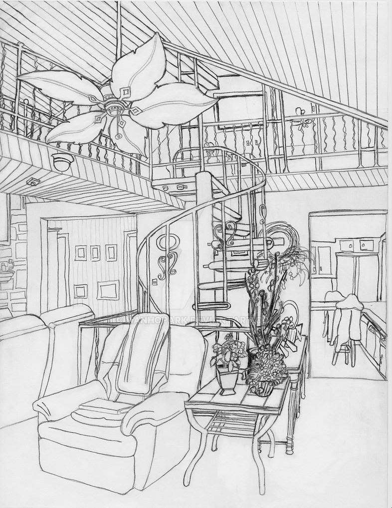 The Line Art And Living : Living room line art by manhopark on deviantart