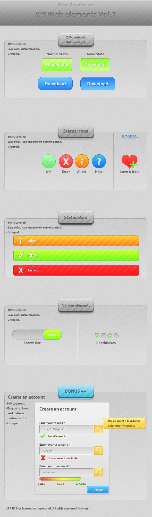User Interface PSD Kits Set Pack UI