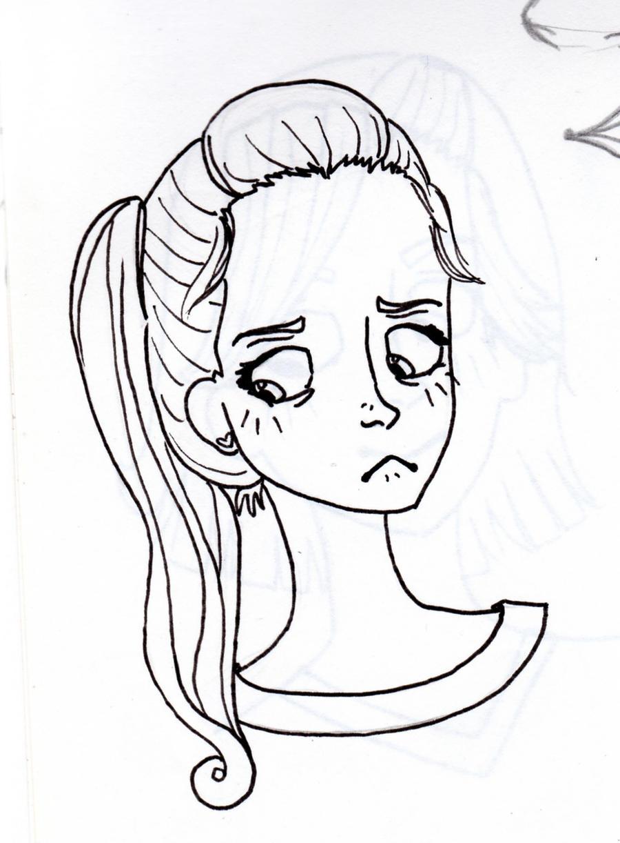 Line Art People : Frustrated girl line art by fayguts on deviantart
