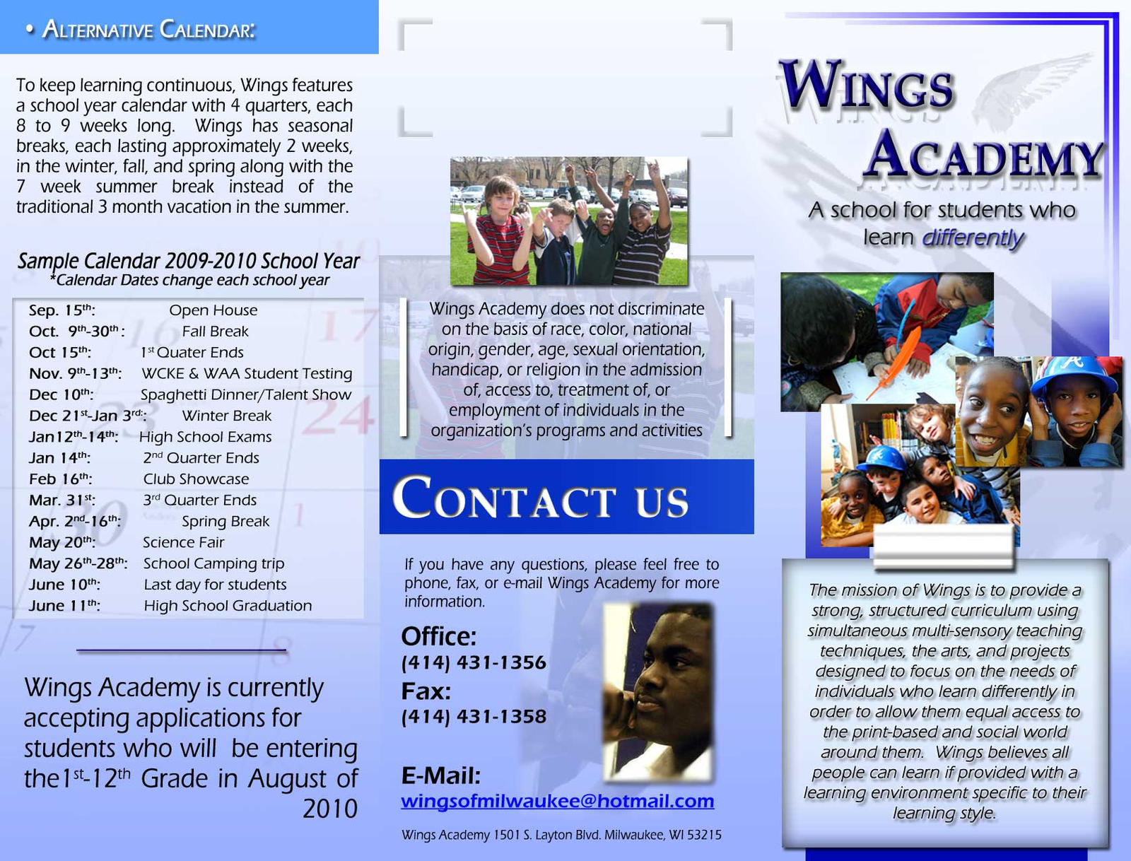 sample of brochure for school