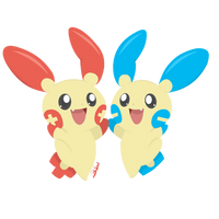 Pokemon - Plusle and Minun by PirateGod3D2Y