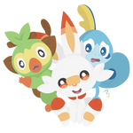 Pokemon - Grookey, Scorbunny, and Sobble