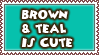 Brown And Teal Stamp
