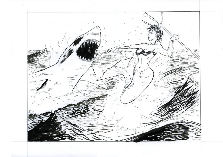 Mermaid vs Shark by Leon-Raven