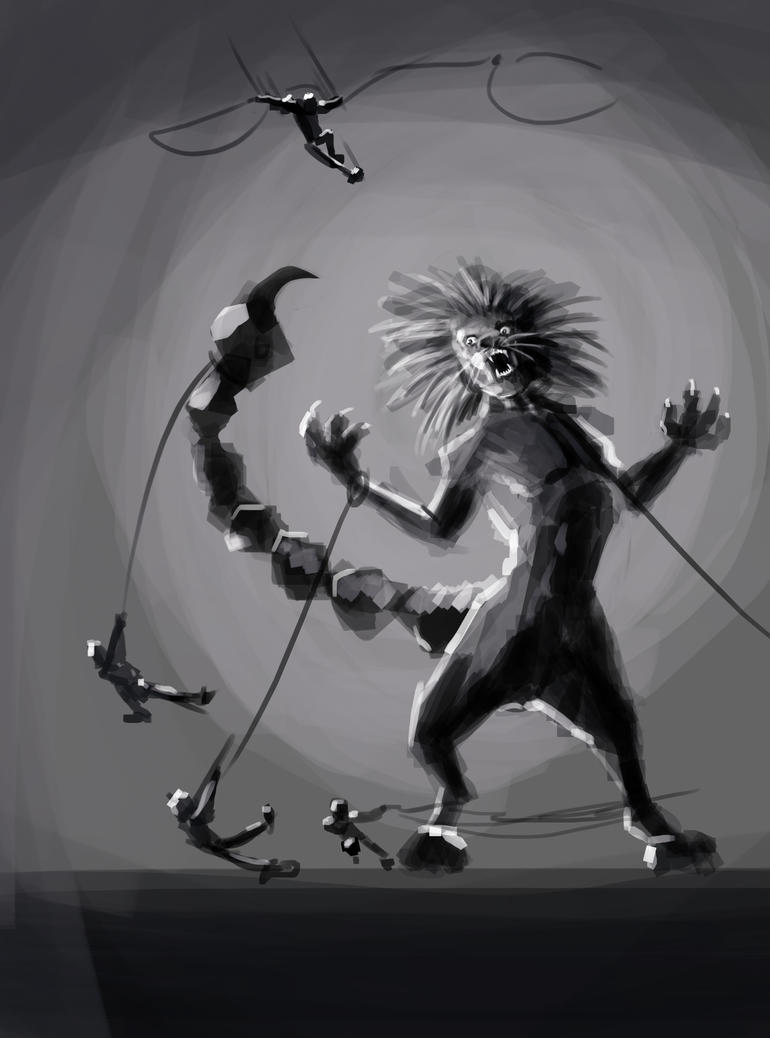 SpitPaint - Captured Manticore by Leon-Raven
