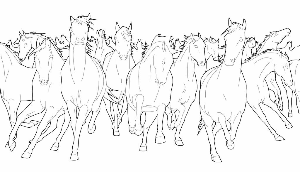 stampede of horses coloring pages - photo#2