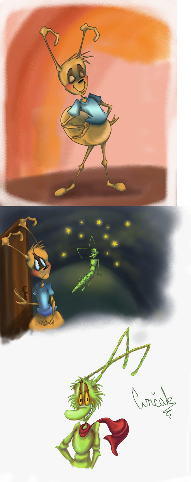 The ant and the cricket by rubberpie