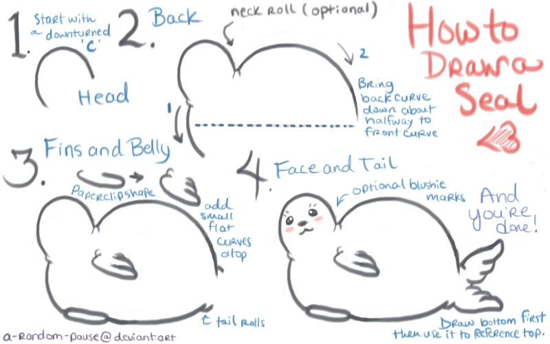 How to draw a cute cartoony seal by a random pause on for Girly drawings step by step