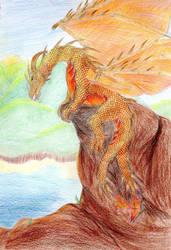 Orange dragon by Sheba987