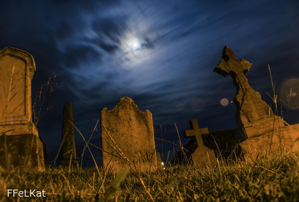 Graveyard full moon night shot by FFeLKat
