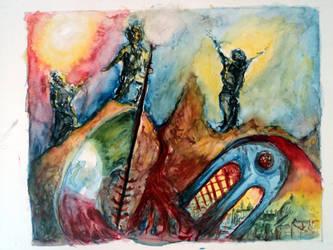 M. A los migrantes (boceto color) by Alexxxhunt