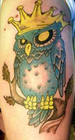 crowned owl tattoo by showtimeinkartco