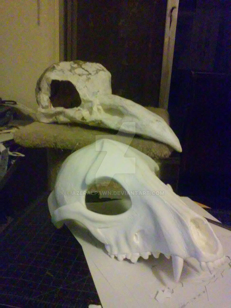 Crow and Anubis Skulls by AzeralPawn