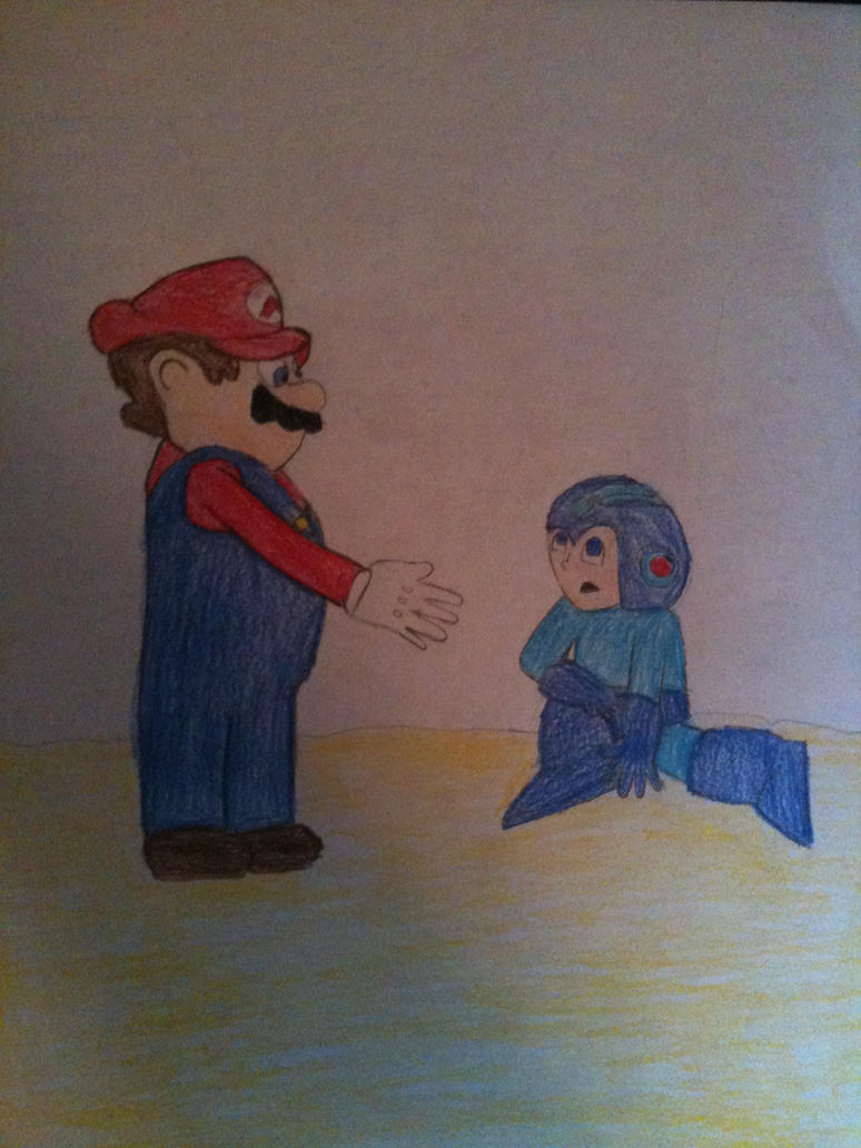 Mario Helps Mega Man by SuperSmashJon