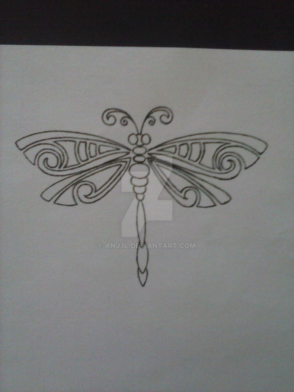 Dragonfly Tattoo Design by Anj3L