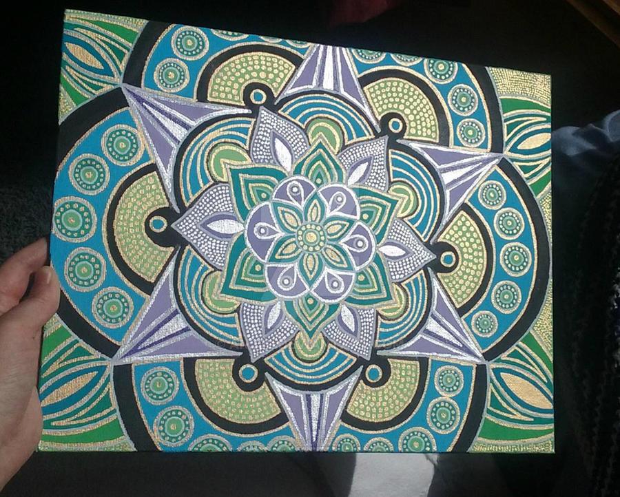 Spring Metallic Mandala Painting by Anj3L