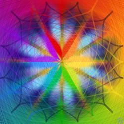 Blue And Rainbow Snowflake Design