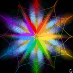 Blue And Rainbow Snowflake Design Black Background