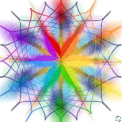 Blue And Rainbow Snowflake Design White Background