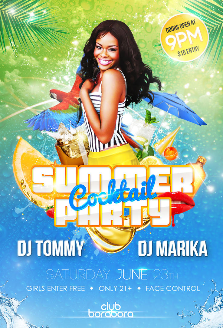 Summer Cocktail Party Psd Flyer Template Viewer 2018