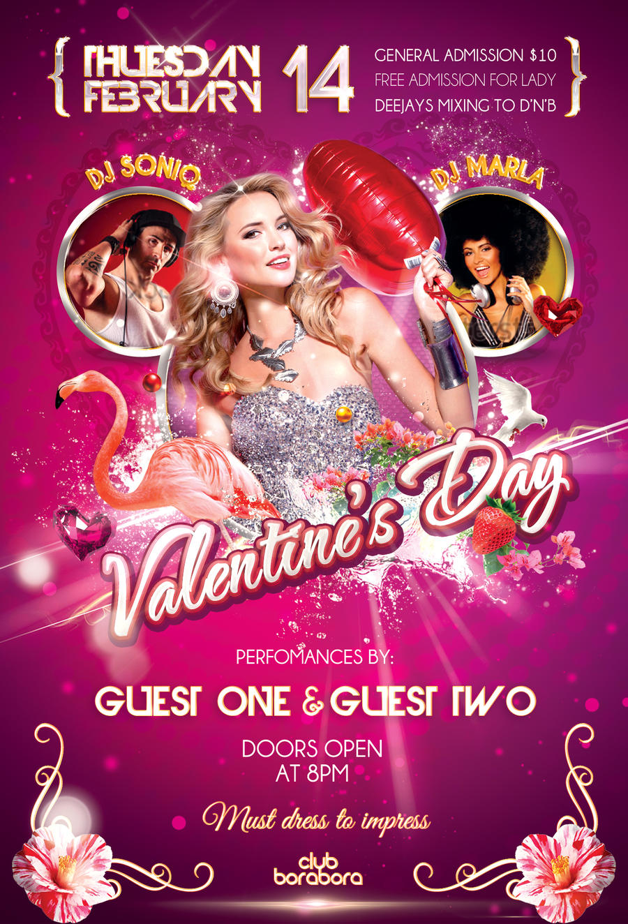 valentines day party psd flyer template by bestofflyers on deviantart. Black Bedroom Furniture Sets. Home Design Ideas