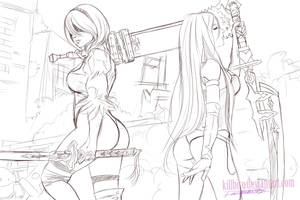 2B AND A2  NIER AUTOMATA SKETCH by killbiro