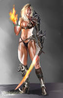 Deadly Fire Warrior Girl by killbiro