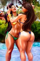 CHUN LI  VS LAURA MATSUDA  POOL FIGHTING by killbiro
