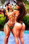 CHUN LI  VS LAURA MATSUDA  POOL FIGHTING