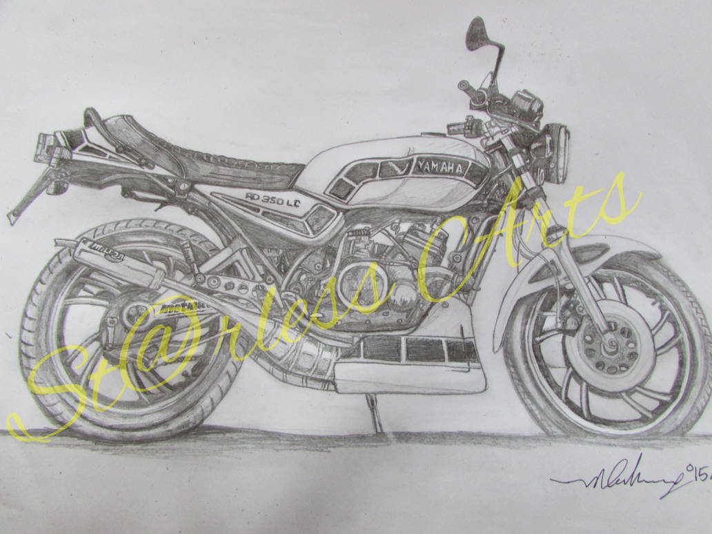 Yamaha Rd350 Lc Motorcycle Drawing By Ivantremblac On Deviantart