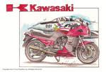 Kawasaki GPz900r Motorcycle drawing.