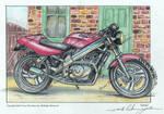 Honda Hawk 650 GT Motorcycle watercolour/drawing. by ivantremblac